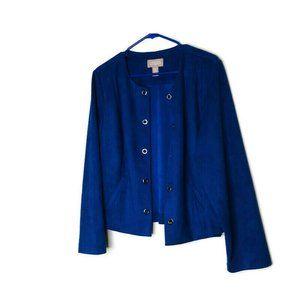 Chico's Blue Faux Suede Grommet Open Jacket